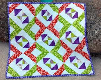 Baby Quilt Lime Lavender Tangerine, Bright Modern Baby Quilt, Quilted Blanket, Crib Quilt Bedding, Baby Blanket ****REDUCED PRICE****
