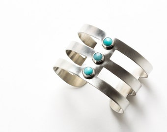 "Modern sterling silver cuff with rectangular cutouts and three bright sky blue amazonite stones for a very unique and edgy look - ""Sky Cuff"""