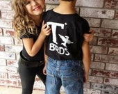 T Birds black child boys shirt Greaser Shirt tee Tshirt black lightning rocker 1950s 50s movie XXS XS S M L XL sock hop white dance music