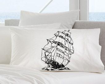 Clipper Nautical Bedding Pillowcase Sail vessel boating maritime sea ocean vintage retro beach house decor Boat Clipper flag Ship in Black