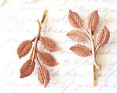 Rose Gold Leaf Branch Bobby Pin Set - Leaf Spray Hair Pins - Woodland Collection - Whimsical - Nature - Bridal