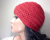 Womens Baby Alpaca Custom Made Crochet Beanie Hat Cap for Adults Ladies Girls // WAVERLY-3 // Paprika Red Orange Color 34 // by Knitcessity