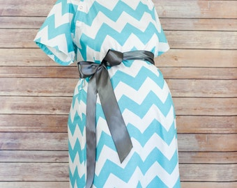 Maternity Hospital Delivery Gown in Aqua Chevron -Super Soft Fabric -Perfect Snaps for Breastfeeding & Skin to Skin -Snaps down the back