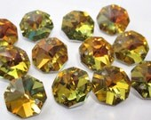 12 Iridescent Yellow Topaz 14mm Crystal Jewelry 2 Hole Connectors (S-PB)