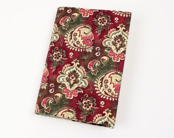 Paisley Paperback Book Cover - in Rose and Olive Cotton Fabric - Your choice of size - Mass Market, Tall Mass, or Trade Size