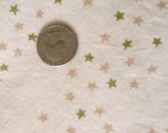 "Sale Ivory w Beige and Olive Green Stars  Print 100% Cotton Fabric 1 1/2 yd x 43/44"" Prewashed"