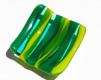 Beautiful Green and Blue waves small Fused glass dish