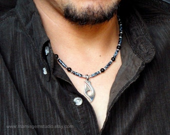 Men's Necklace, Snowflake Obsidian & Black Onyx, Tribal Fishhook, Mens Jewelry, for Men, Guys, Him, Dad