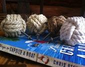 Nautical Decor - Set of 4 knotty door knobs - manila, hemp, sisal or cotton