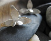 Heart orchid stud earrings: hand forged in sterling silver