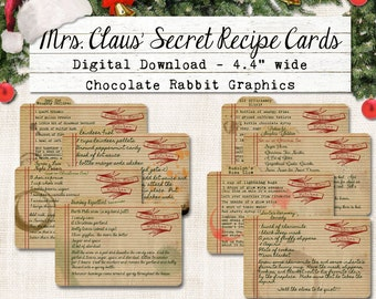 Christmas Recipe Cards Digital Download DIY Vintage Style Clip Art Printable Graphic Images Collage Sheet