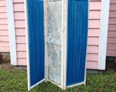 SALE Vintage Wood and Fabric Room Divider Divider Room Screen Romantic Home Shabby Chic Cottage Chic at A Vintage Revolution