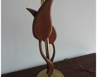 Vintage Wood Leaves Table Lamp  50's So COOL