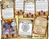 "Venus Magick Digital 7 Page Set - Standard 8 x 11"" -  Book of Shadows, Grimoire, Spells, Love, Sex"