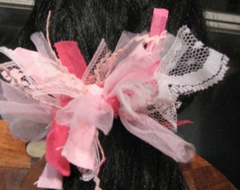 Princess Party Bow, Hair Elastic Ponytail, Tres Chic, Pink Princess Bow, Sweet Hair Accessory  Party Hair Bow