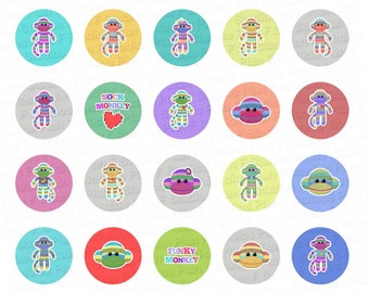 Funky Sock Monkeys Digital Collage Sheet - 1.313 Inch Circles for 1 Inch Buttons - Instant Download