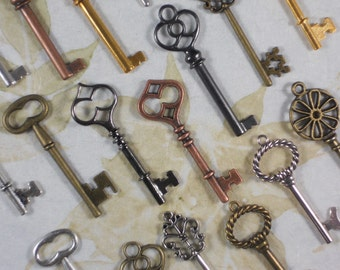 20 Steampunk Keys LG Skeleton Eclectic Collection Mixed Metals Assortment Parties Wedding Favors (K39)