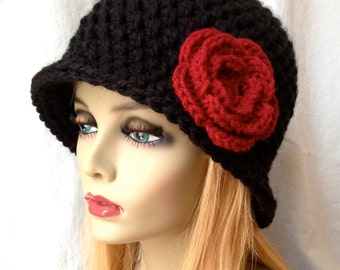 SALE Crochet Cloche Womens Hat, Black, Red Rose Flower, Fall Winter Hat, Birthday Gifts, GIfts Under 50, Photo Props, Handmade, JE276C2