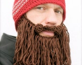 long beard hat crochet mens toque The Original Beard Beanie™ shaggy- red striped with chocolate brown