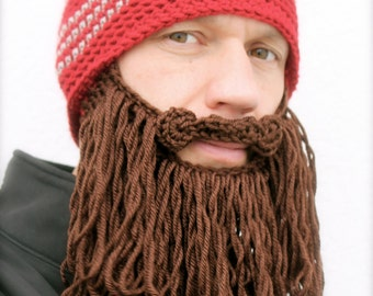 long beard hat crochet mens toque The Original Beard Beanie™ shaggy- red striped with chocolate brown