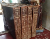 Set of 4 Fabulous Antique Embossed Brown Leather Books Walter J Black inc