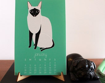 2017 Calendar, Cat Desk Calendar, Gifts Under 25, Cat Lover, Stocking Stuffer, Calendar with Display Easel, Cat Calendar, Cat