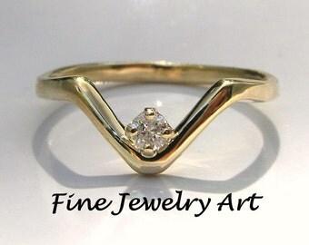 Unique V Ring 14k Gold &  Natural Diamond   Feminine Chevron Diamond V Ring - Non Traditional Engagement - Wedding -Anniversary Ring