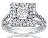 Princess Cut Double Halo Micropave Diamond Engagement Ring AP15