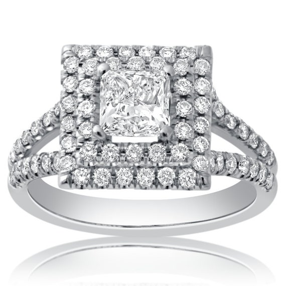 Princess Cut Double Halo Micropave Diamond Engagement Ring