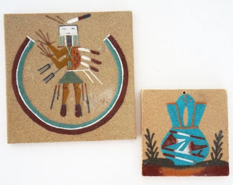 Vintage Navajo Sand Painting Tile Plaque Native American Figure Wedding vase Turquoise Orange Brown Set of Two 1960s