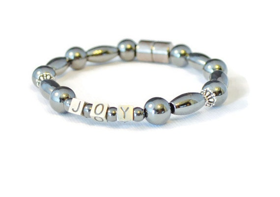 JOY Magnetic Hematite Therapy Bracelet with Sterling Silver, Holistic Health, Pain Relief