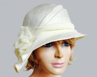 Sophia, beautiful straw hat from the Downton Abbey era, womens straw cloche hat, off white