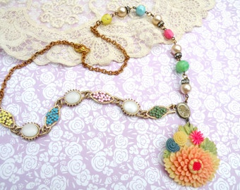 spring celluloid necklace assemblage upcycled vintage jewelry flower eclectic mix floral cottage chic