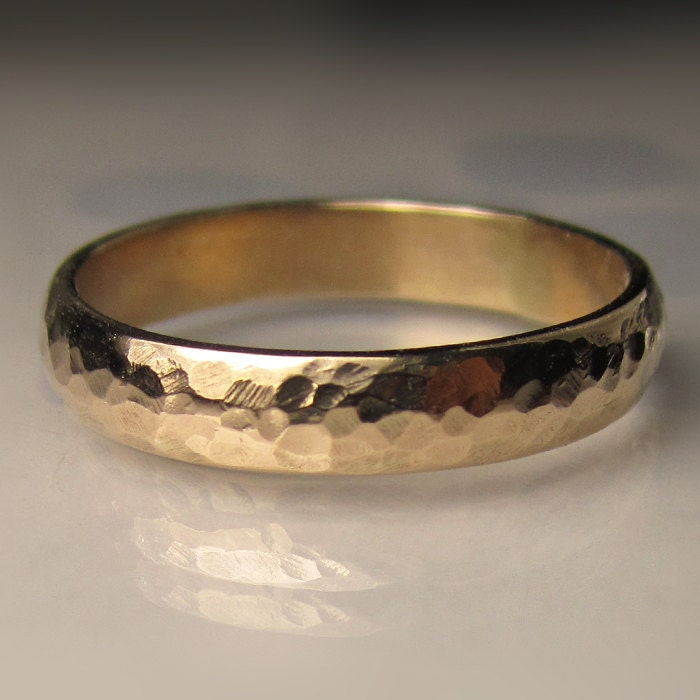 Mens Gold Wedding Band Recycled 10k Yellow Gold 4mm