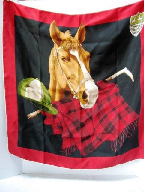 vintage horse lover 39 s scarf horse race kentucky derby. Black Bedroom Furniture Sets. Home Design Ideas