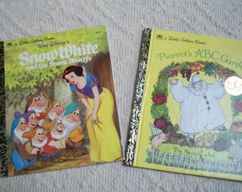 "Vintage Books ""Snow White"" and ""Pierrot's ABC Garden"" Golden Books Children's Books"