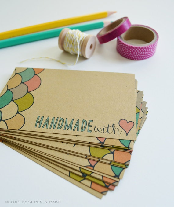 Set of 48 Handmade With Love Mini Cards, Hand Drawn, Illustration, Quote, Note cards, Mini Note cards 2.75 x 4.25 inches