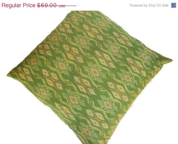 ON SALE Ikat Floor Pillow 30x30 76cmx76cm Green by ginette1223