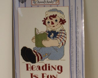 Raggedy Andy doll Reading is Fun Counted Cross Stitch Kit