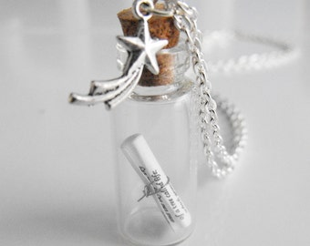 Peter Pan Message in a Bottle Necklace
