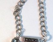 Altered Art Egyptian Nefertiti Ankh Peace Stainless Steel Chain Charm Bracelet OOAK