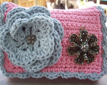 HALF PRICE CLEARANCE  ~ Crocheted Purse ~ Ice Cream Pink and Misty Gray with Rhinestone Encrusteded Flower Crocheted Cotton Little Bit Purse
