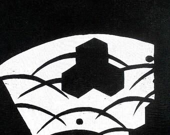 Japanese Stencil Family Crest Grass Kimono Katagami in Showa Period