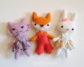 Woodland Animal Felt Doll Patterns * Set of 3 Doll Sewing Patterns * Kawaii Dolls * Cat Doll, Bunny Doll, Fox Doll Printable PDF
