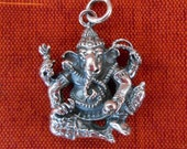 Balinese Sterling Silver Ganesha Pendant / charm made of silver 925 / Hindu amulet of good luck and prosperity