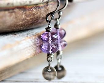February Birthstone Earrings Amethyst Earrings Dangle Earrings Silver Earrings - Crocus - Spring Fashion Birthstone Jewelry Purple Sterling