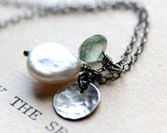Pearl Aquamarine and Sterling Silver Necklace - Tide Pool - Hand Sawn Metalwork Summer Beach Fashion June March Birthstone Jewelry