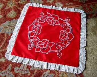 SHAM Pillow Case RED White embroidered eyelet lace trim Hawaiian hand embroidery
