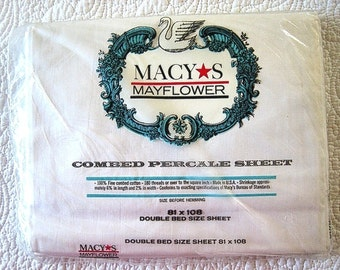 N I P SHEET Vintage Antique but Unused Macy's House Label Double/Full Flat Percale White