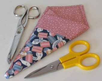 Small Scissors Holder, Double Pocket Carry Case, Blue and Pink Spools of Thread
